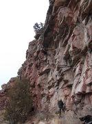 Rock Climbing Photo: Ryan approaching the crux 1/24/2015.