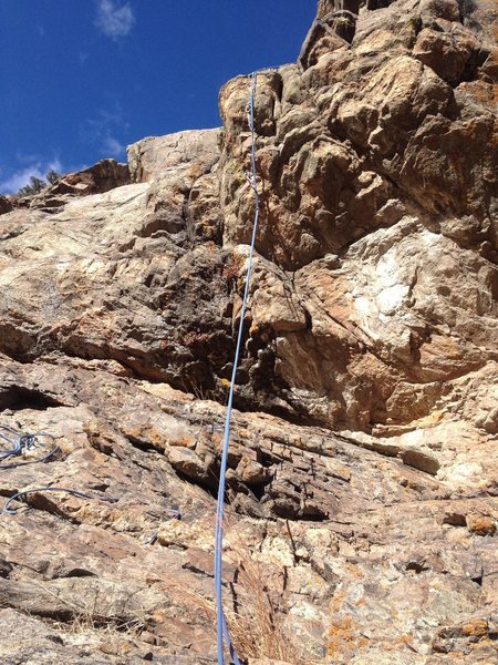 A good view of the crux.