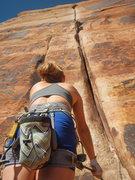 Rock Climbing Photo: Kia on belay at the generic crack