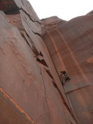 Rock Climbing Photo: Past the first crux, psyched to be putting in a go...