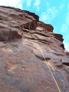 Rock Climbing Photo: Aaron entering the hard section on the wild P4...