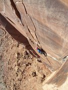 Rock Climbing Photo: Aaron leading the P3...
