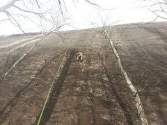 Rock Climbing Photo: Ben near the end of the traverse.