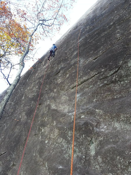 Frost on the traverse section during the FA. The sharp angle of the rope was fixed by relocating the bolt more to the left.