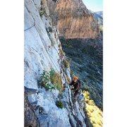 Rock Climbing Photo: nearing the top of P1 I believe