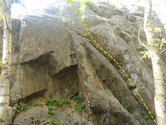 Rock Climbing Photo: This is the right most route at the crag.