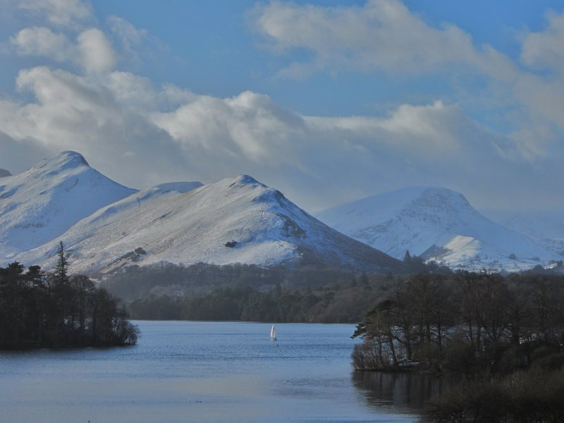 Catbells and Mt Robinson from Derwentwater .English Lake District . Jan 30th 2015 .