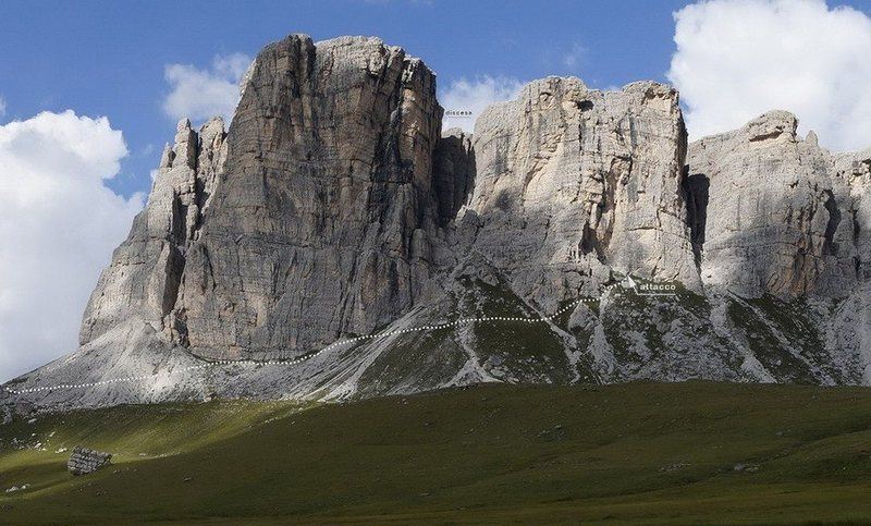 The south face of Lastoni di Formin and the approach of the route
