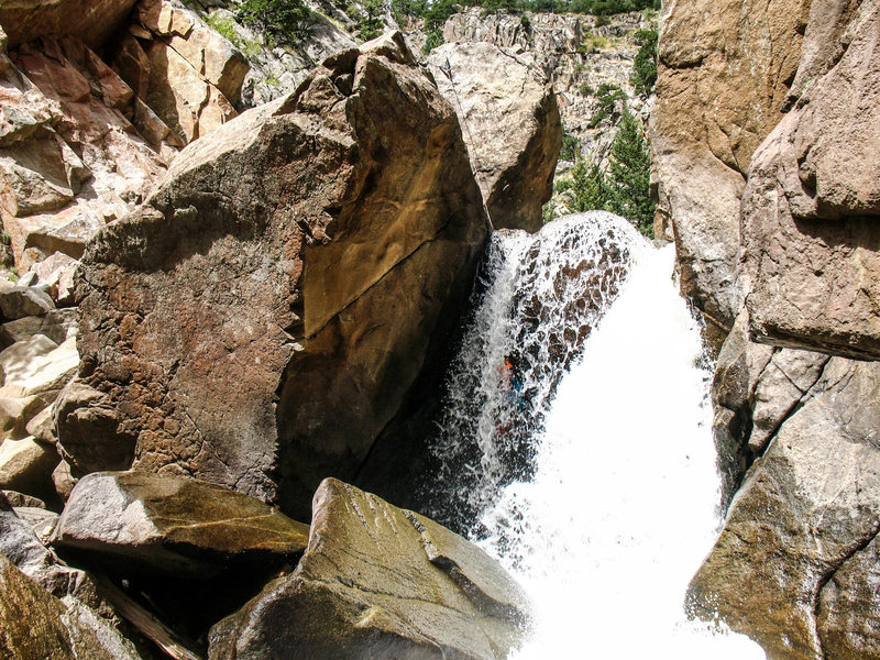The upper falls. Find the canyoneer!