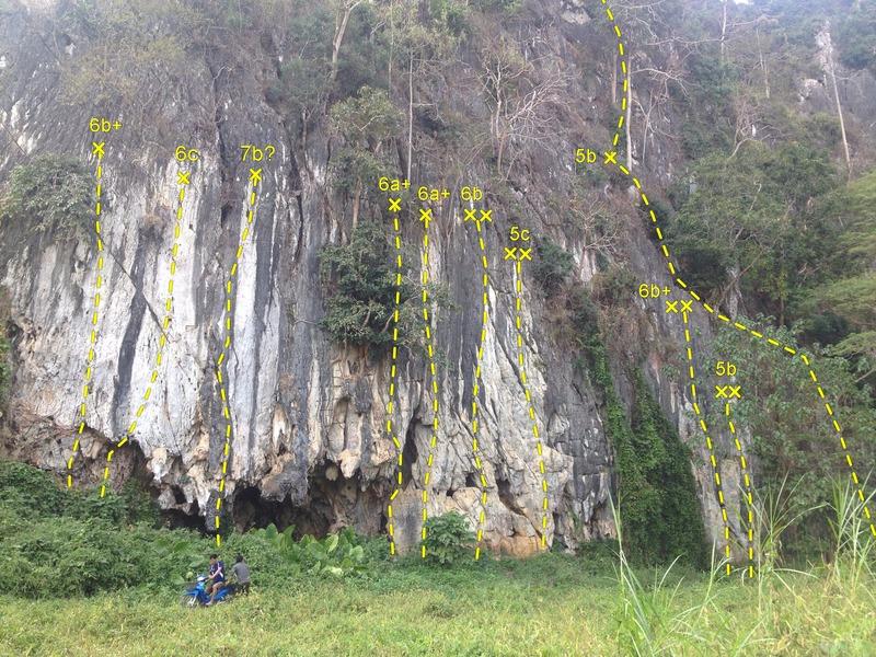 Reservoir Wall, Wat Tham Pla, Chiang Rai Rock Climbing Topo