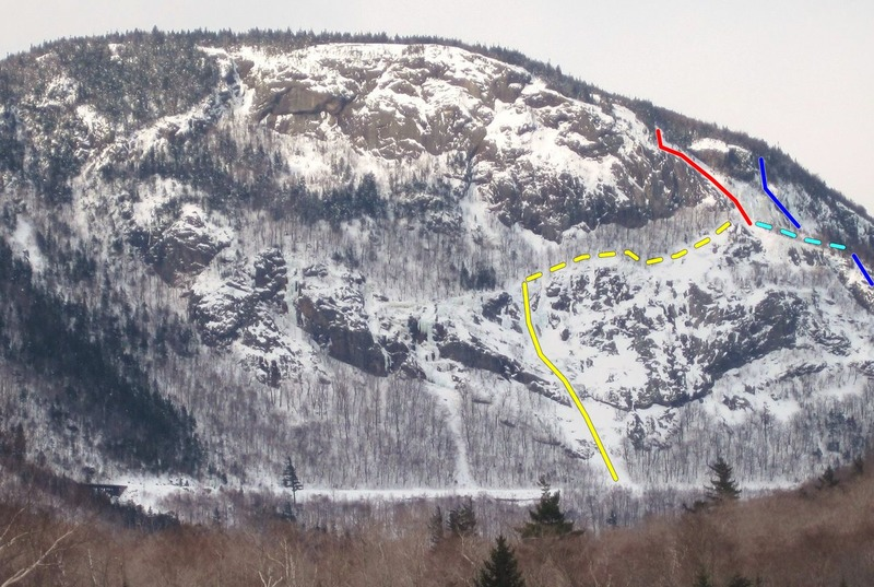 East Face Slab (red)<br> Cinema Gully (solid yellow)<br> Hitchcock Gully (solid blue)<br> Traverse to EFS (dotted lines)