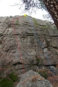 Rock Climbing Photo: Flying Pig Wall left side topo
