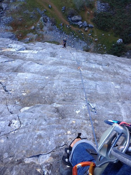 Rock Climbing Photo: looking down at belayer over the waves of rock on ...