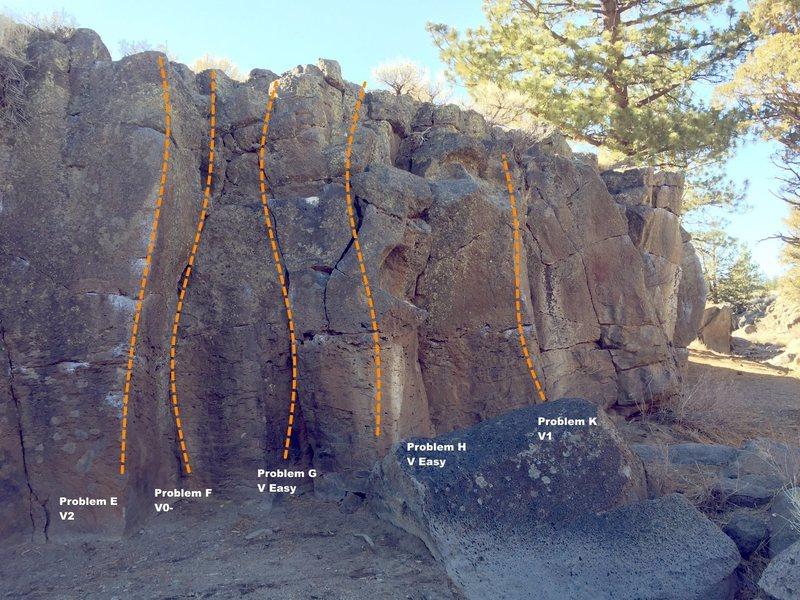 Rock Climbing Photo: Sector A Left Center Topo