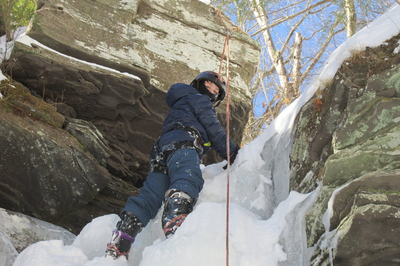 Deep Notch Catskills NY. Jonah climbing on the practice slab waterfall just south of the parking area January 31, 2015