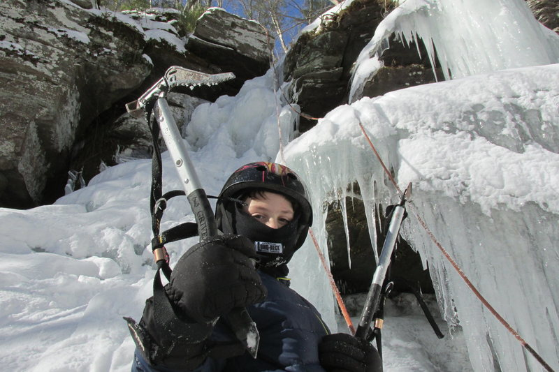 Deep Notch Catskills NY. Jonah getting ready to climb main water fall on the practice slabs January 31, 2015. It reached a high of 8 degrees F. that day.