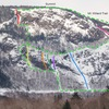 Mt. Willard South Face:<br> Cauliflower Gully (red)<br> Gully 1 (yellow)<br> Gully 2 (orange)<br> Gully 2-1/2 (drk green)<br> Great Madness (purple)<br> Cinema Gully (blue)<br> East Face Slab (magenta)<br> Upper Hitchcock Gulley (black)<br> Approach trails (dotted green)