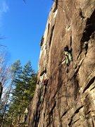 "Rock Climbing Photo: Chris Henson cruising ""bwana Dik"" on a f..."