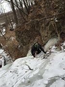 Rock Climbing Photo: Gokul finishing up a solo of pitch 1.