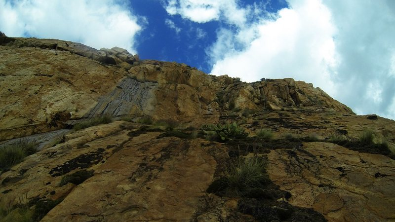 Rock Climbing Photo: Looking up the 4th class pitch.