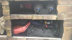The diving locker. Boat and both paddles packed in along with tanks octos, undergarments, and PFD's and BCD's.  Dry suits hanging between bed and back door where I think they will stay since they never get completely dry.