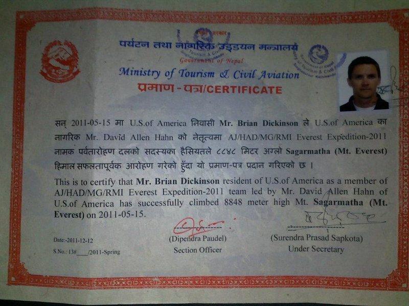 Everest summit certificate