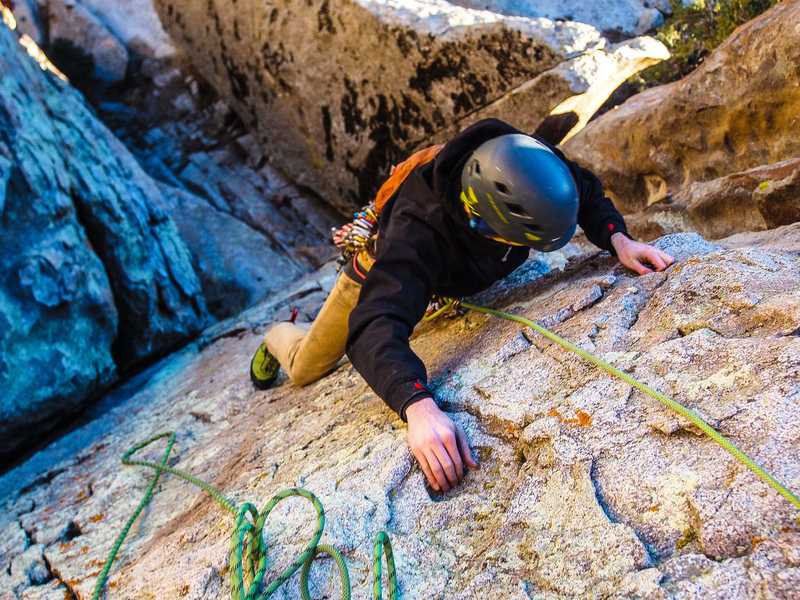 Rock Climbing Photo: Looking down from the top of P1 of Red Dihedral