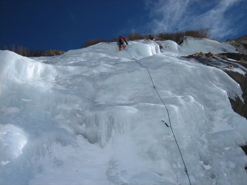 Me on first ascent (to my knowledge) in Jan. 2006 in a FAT ice year.<br> <br> Photo credit: Clinton McKinzie.