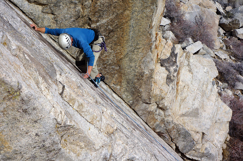 Rock Climbing Photo: Doug searching for the next foothold on 'Uptown Gi...