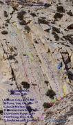 Rock Climbing Photo: Uptown Rock - Upper Tier Approx. route and bolt lo...