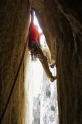 Rock Climbing Photo: Dmitry starting the 2nd pitch. Double roof, double...