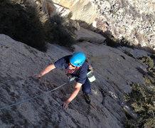 Rock Climbing Photo: Mike finishing up on 'Downtown Man' (5.7)