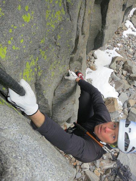 Luke Lydiard climbing his route Jango Fett.