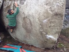 Rock Climbing Photo: Making a big move to an edge