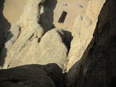 Rock Climbing Photo: Jebel Kharaz looking down near the top. Note the s...