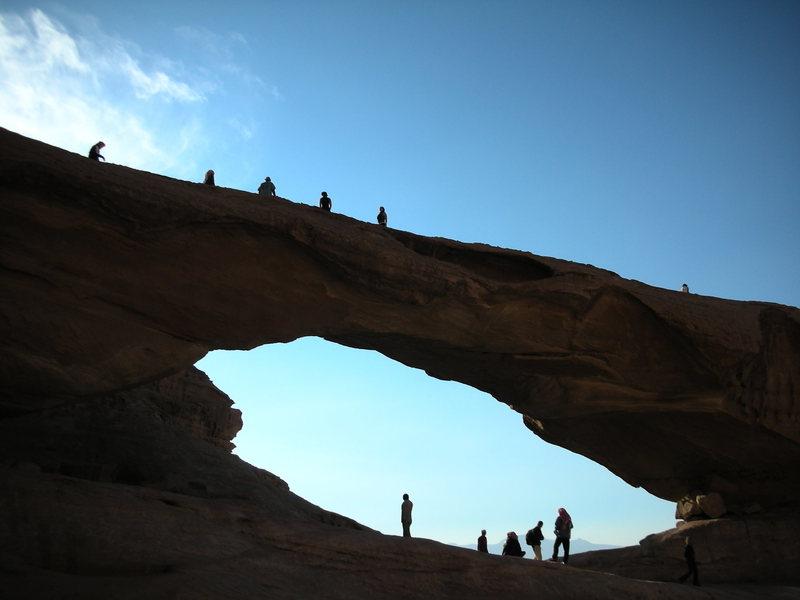 Tourists on the nearby Kharaz Rock Bridge