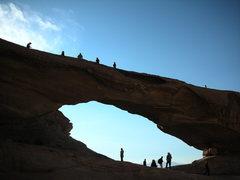 Rock Climbing Photo: Tourists on the nearby Kharaz Rock Bridge