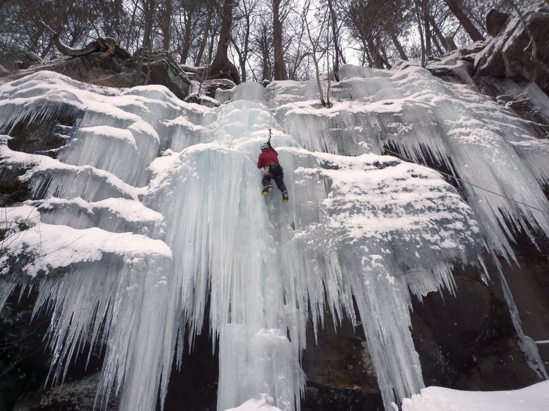 Rock Climbing Photo: A steep snow slope leads to this ice, rated 4- in ...