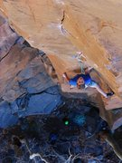 Rock Climbing Photo: Joel Unema in the stem rest before the crux.  Phot...