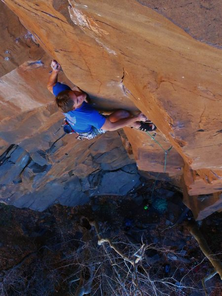 Joel Unema with a serious stare down on East Coast Fist Bump 5.14-.<br> <br> Photo Dillon Smith
