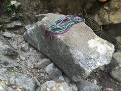The boulder that broke off that now serves as a nice belay bench...