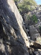 The entrance to the Regular Route, scramble up the 3rd class gully to a tree and reach a nice platform to belay from.