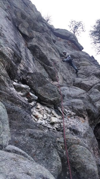 Rock Climbing Photo: David Light leading pitch three, 30 Jan. 2015.