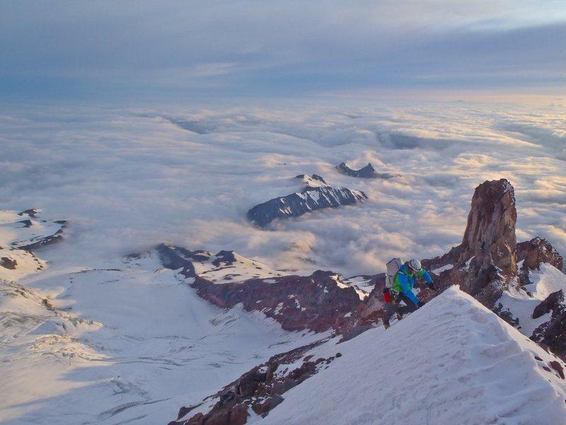 Rock Climbing Photo: Joe climbing Curtis ridge near the 1st Cliff Band....