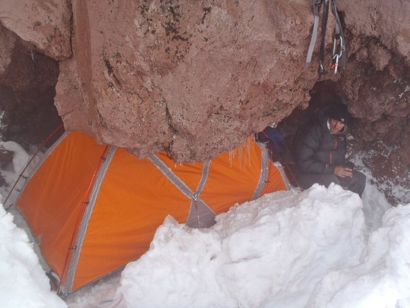 Our bivy spot. We chose to bivy before the rappel point because the weather was not good. We didn't want to commit to the route only to wake up to no visibility and have to bail down to the Carbon. We found this spot just a couple hundred feet before reaching point 10,300 ft.