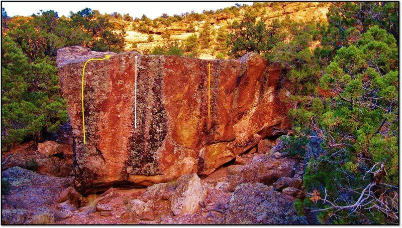 Rock Climbing Photo: Spunk problem beta in orange.