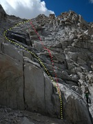 Rock Climbing Photo: A view of the remaining route from the top of the ...