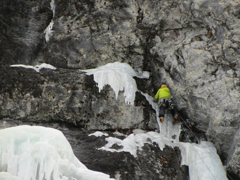 The first crux section of P2, end of January 2015.