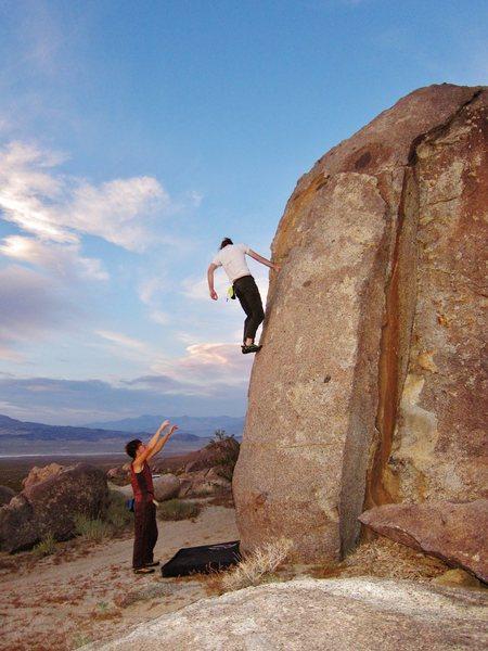 My husband, downclimbing.