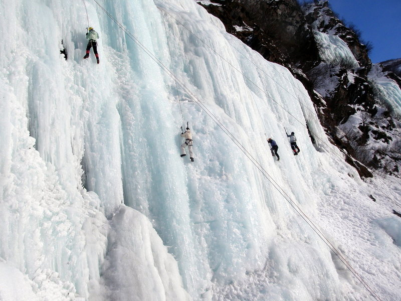 Ice Pixies climbing on Bridalveil.  This and Greensteps in the background is where most of the action will be taking place